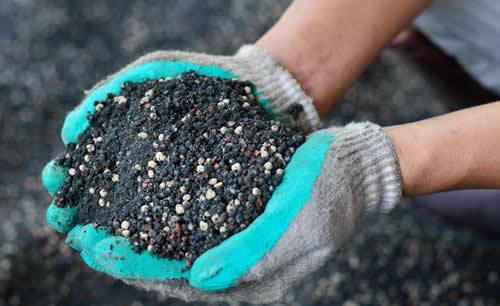 Commercial Fertilizer Held in Gloved Hands