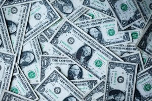 image of dollar bills representing a landscaping loan